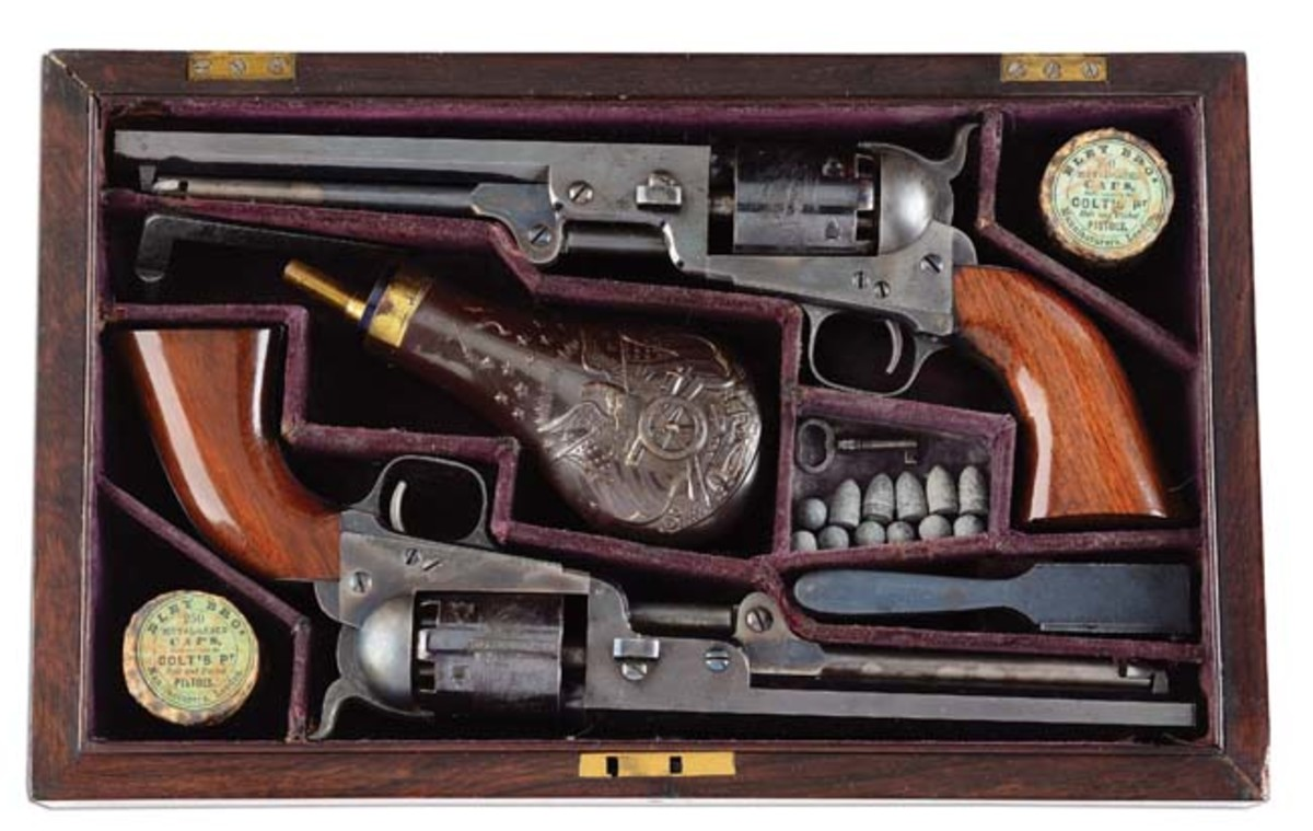 "Cased pair of legendary 1851 Division Aide de Camp Colt ""Navies,"" pictured in The Antique Arms Annual 1971, ex Allen S. Kelley. Sold for $69,000"