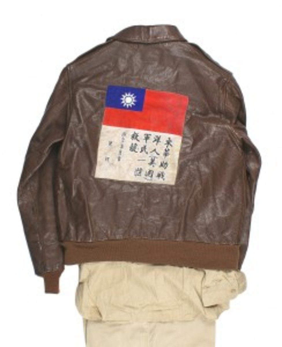 A uniform grouping for 1st Lt. Cline E. Mason, who served during WWII with the U.S. Army Air Force in the CBI Theater of Operations, went for $2,440. Along with the uniform, the lot also featured Mason's A-2 leather jacket with an Air Transport Command patch on the front and a Nationalist Chinese flag patch on the back, an Army Air Force duffel bag and other items.