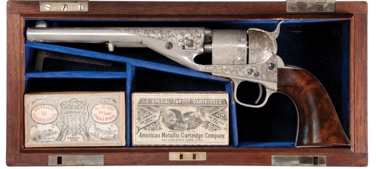 Lot 3174 - Serial Number, 1, Exhibition Quality Deluxe Factory Engraved, Cased Presentation, Colt Model 1861/72 Navy Cartridge Revolver.