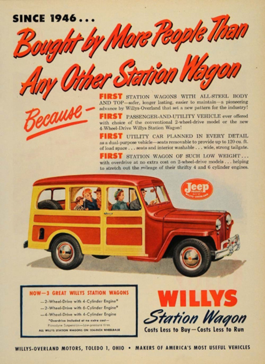 "Prior to the war, woodie station wagons were expensive hand-crafted wood paneled luxury vehicles but that would all change thanks to designer Brooks Stevens. Willys-Overland wanted their new product-line to leverage on the ""jeep"" success. The answer for 1946: the Willys-Overland all-steel, two-door, two-wheel drive ""Station Wagon"" with a ""woodie-look. It was a hit - finally a woodie for masses! (PRNewsFoto/Historic Vehicle Association)"