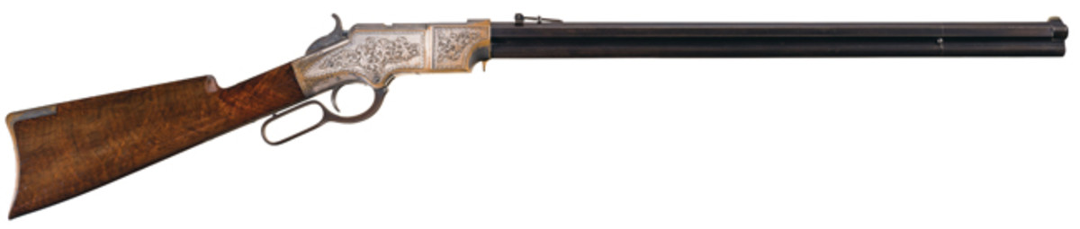 Documented Historic Early Production Factory Presentation Engraved Silver-Plated New Haven Arms Co. Henry Deluxe Lever Action Rifle, Serial Number 17 SOLD $276,000