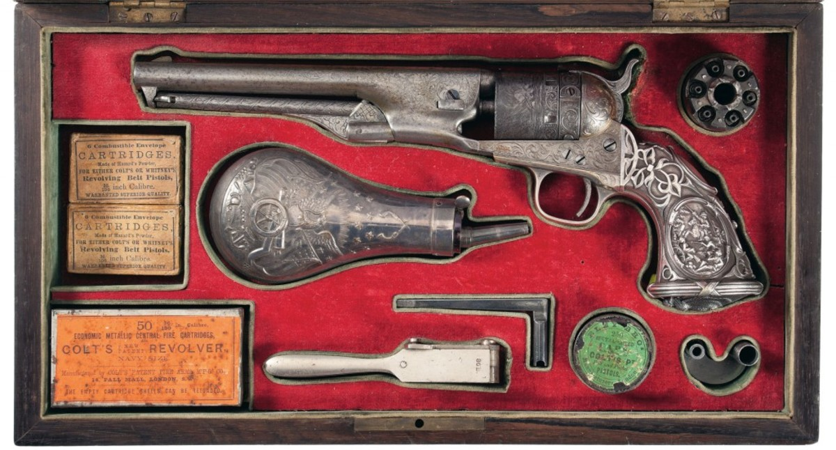 Lot 1097 - Cased, Silver/Gold Thuer Conversion, L.D. Nimschke Factory Engraved Colt Model 1861 Navy Revolver with Battle Scene Tiffany Grips Obtained from the Son of President Pierola of Preu - $120,000-$160,000