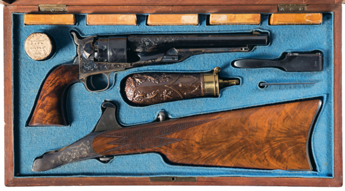 Well Documented and Phenomenal Cased Factory Vine Scroll Exhibition Engraved Colt Model 1860 Army Revolver with Matching Deluxe Shoulder Stock SOLD $506,000