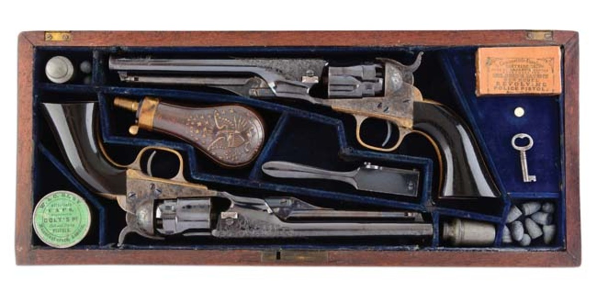 Factory-engraved, ebony-gripped double-cased pair of Colt Model 1862 police revolvers presented to Capt. W.H.H. Waller in 1865. Sold for $117,000