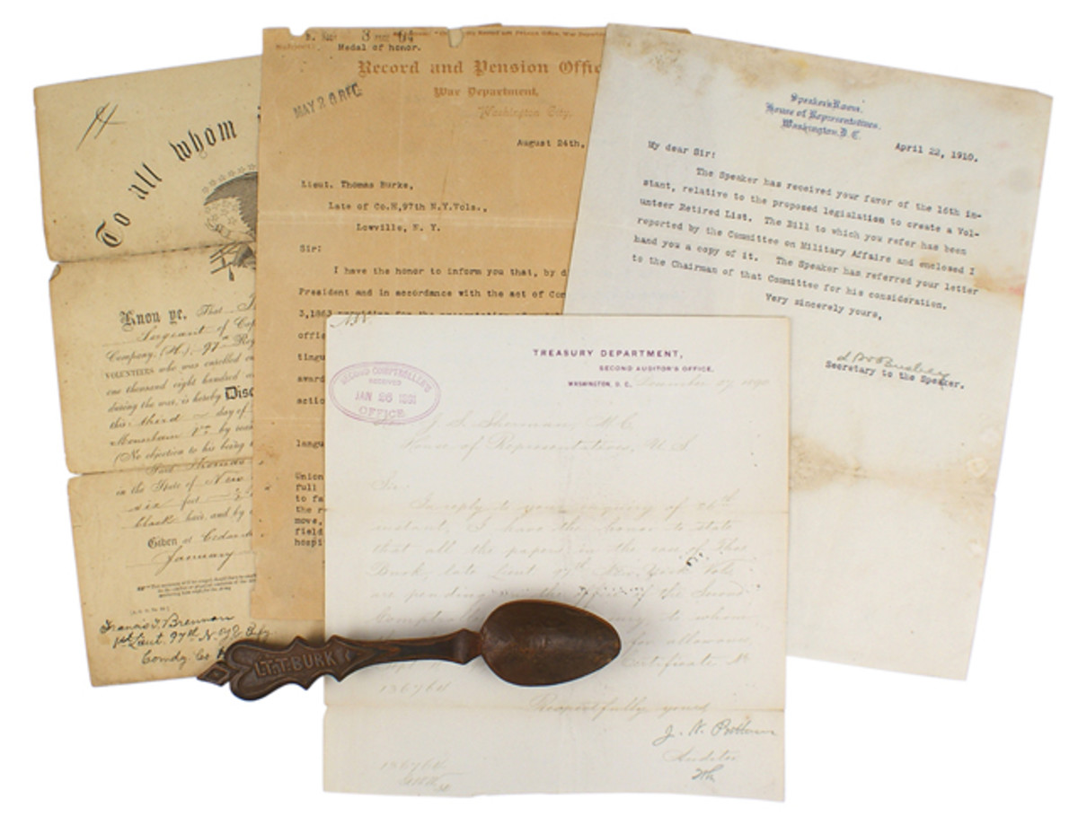 Trove of items pertaining to Sgt. Thomas Burke, Civil War Medal of Honor recipient ($2,232).