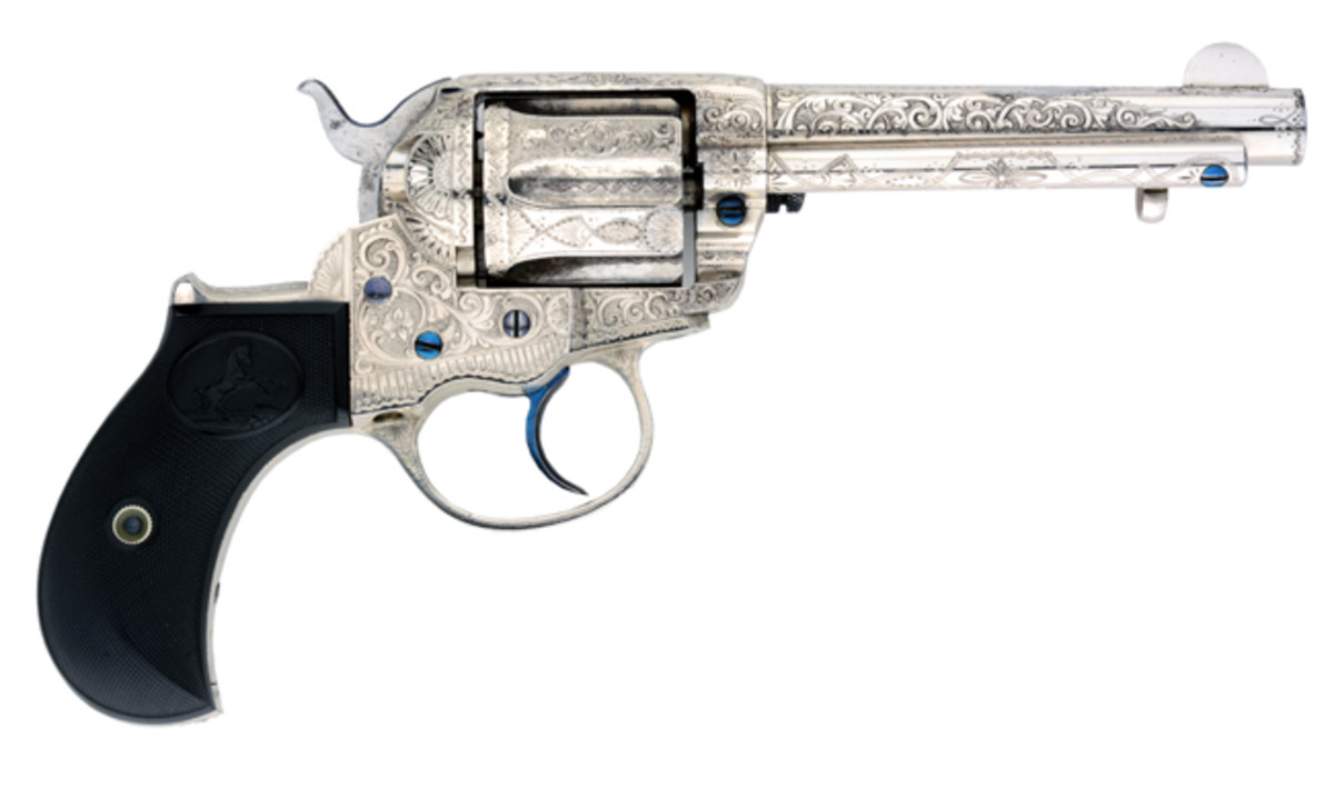 Exquisitely engraved Colt Lightning Revolver made expressly for mine owner C.N. Markle, book example, included factory letter. Sold for $72,000