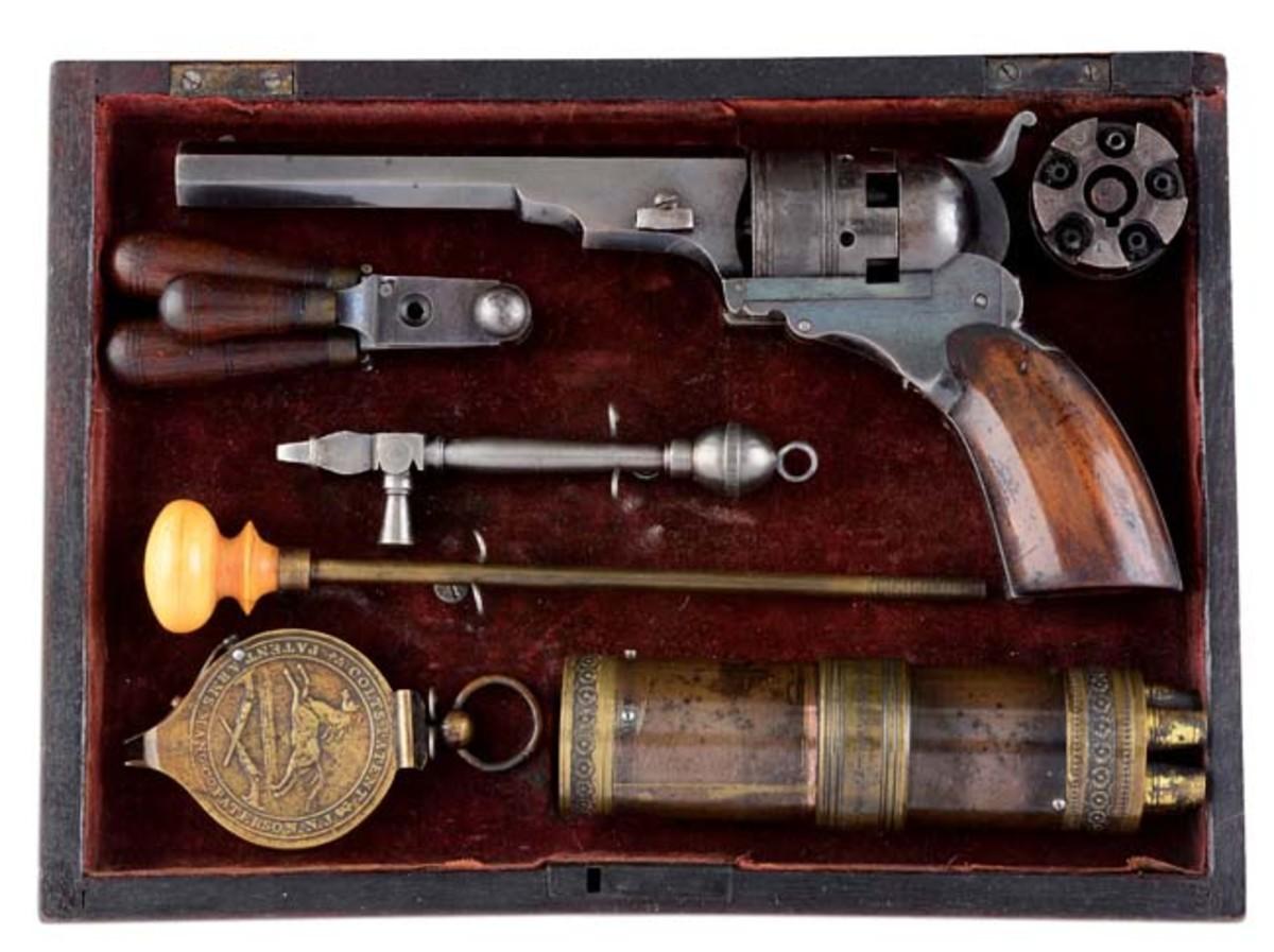 No. 2 Belt Model Paterson Colt in very fine original Paterson case. Sold for $96,000
