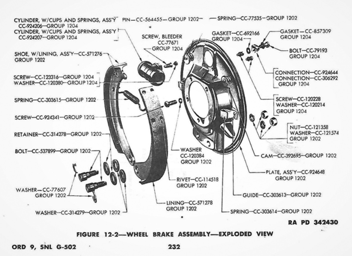 Exploded view of the wheel brake assembly. for a Dodge 3/4-ton truck. Beware of removing unnecessary parts, just the necessary components. January 1944 TM 9-808