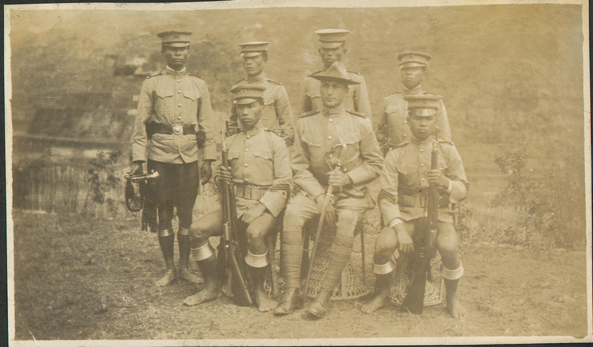 When future U.S. President William Taft established the Philippine Constabulary in 1901, he set forth an organization that would be regarded as an elite prestigious organization to maintain law and order in the Philippine Islands. From its onset, the Constabulary members wore a variety of unique uniforms and accouterments, some of which are visible in this photo of Owen A. Tomlinson and members of the 4th Mountain (Ifugao) Company,Philippine Constabulary. Owen A. Tomlinson papers, Bentley Historical Library, University of Michigan