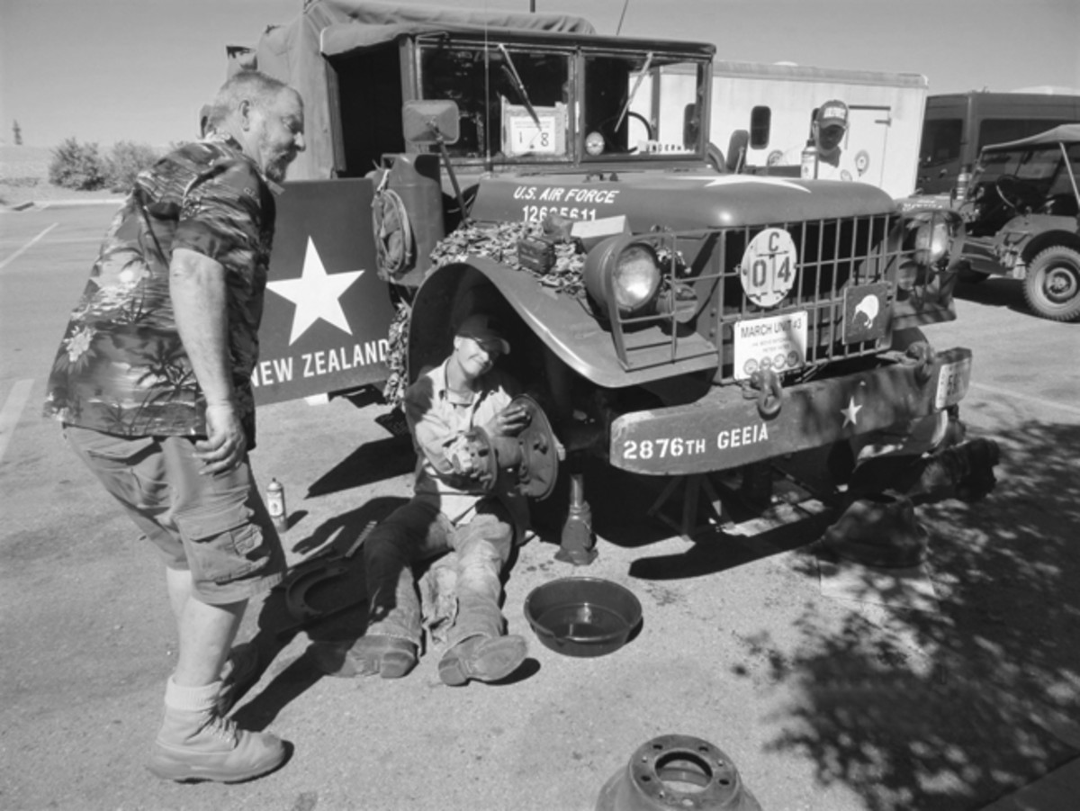 "When operating historic military vehicles, you may not always have the luxury of doing repairs in a well-appointed shop. Sometimes, you have to be prepared to do ""in-the-field"" repairs as was the case with an M37 that needed a brake job during the MVPA's Route 66 Convoy."