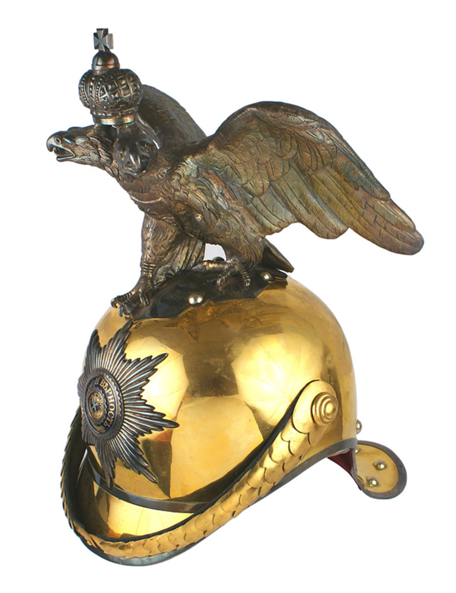 Imperial Russian Garde du Corps officer's helmet, made between 1900 and 1917 ($17,050).