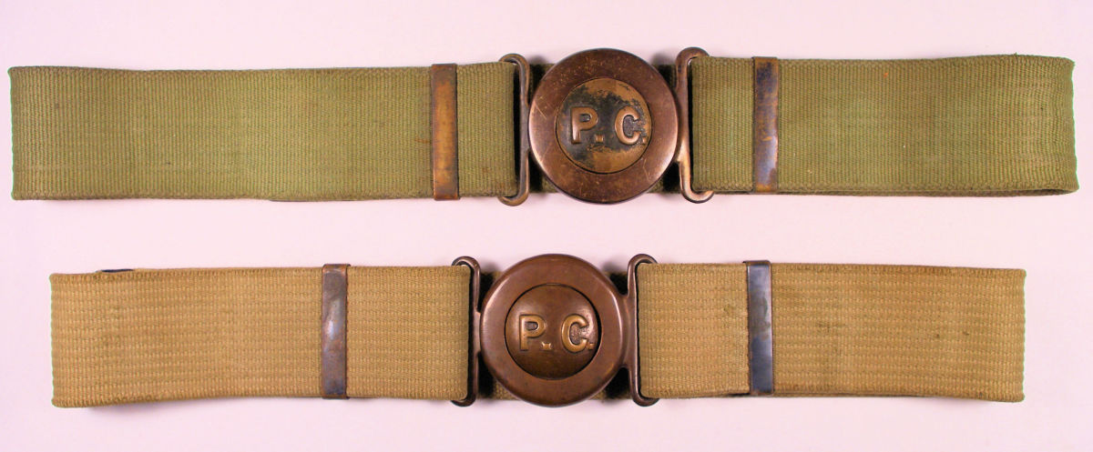 Two Type 2 belts as supplied through the Mills contract. The web belts are fitted with 2-piece tongue-and-wreath buckle. These are much scarcer than Type 1 belts and buckles.
