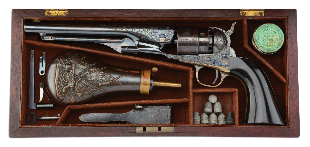 Cased, factory-engraved Colt 1860 Army .44 with ebony grips, from the same serial number range as a similar model that was either presented to, or belonged to, Gen. Ulysses S. Grant. Sold for $75,000
