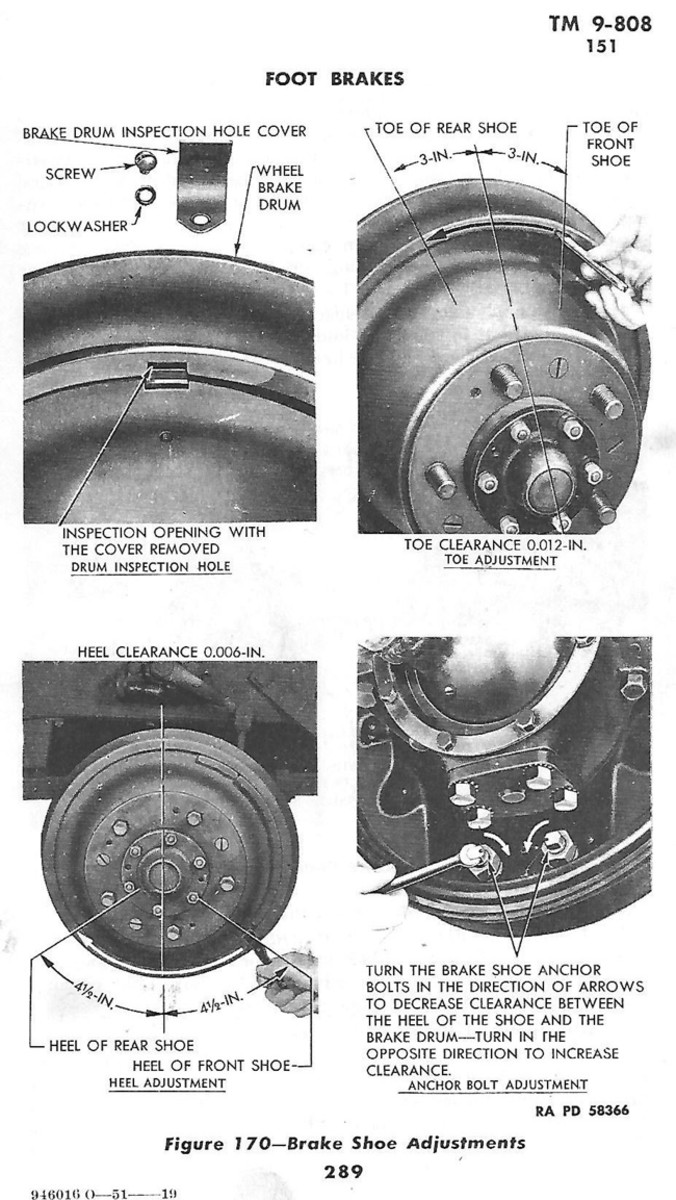 Adjusting the brake shoe anchor point: The 'heel' adjustment below the axle. In addition, shows additional information on measuring shoe adjustments that was not used in the in the field job. January 1944 TM 9-808