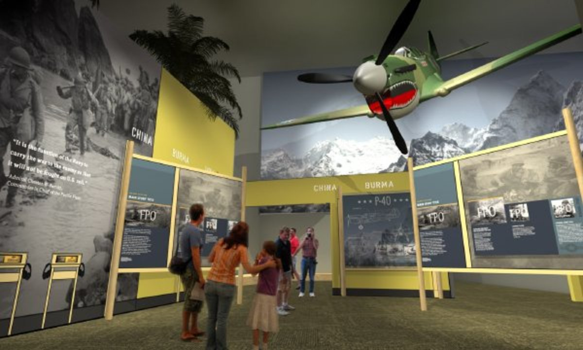 This artist rendering shows a restored P-40 Curtiss Warhawk fighter plane as it will be displayed in a new pavilion. (Courtesy the National World War II Museum in New Orleans)