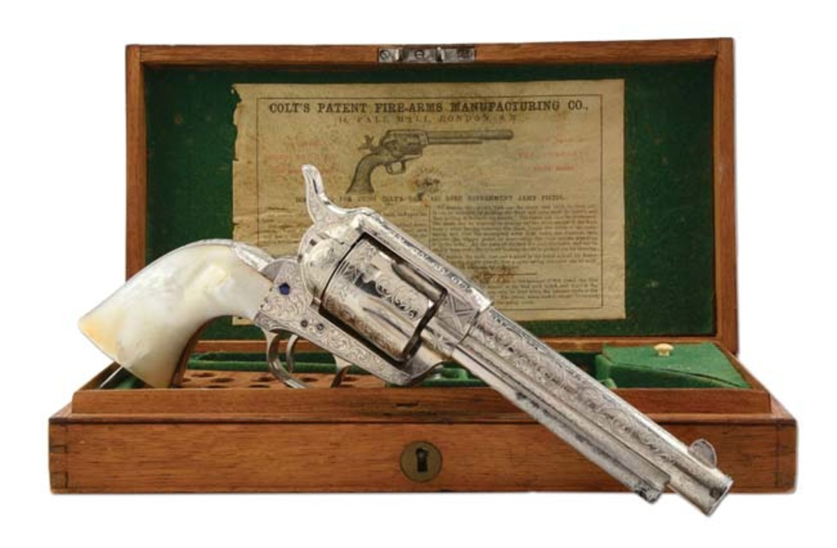 Exhibition-quality 1880 Colt Single Action Army with pearl grips and factory engraving, ex Karl Press collection. Sold for $60,000
