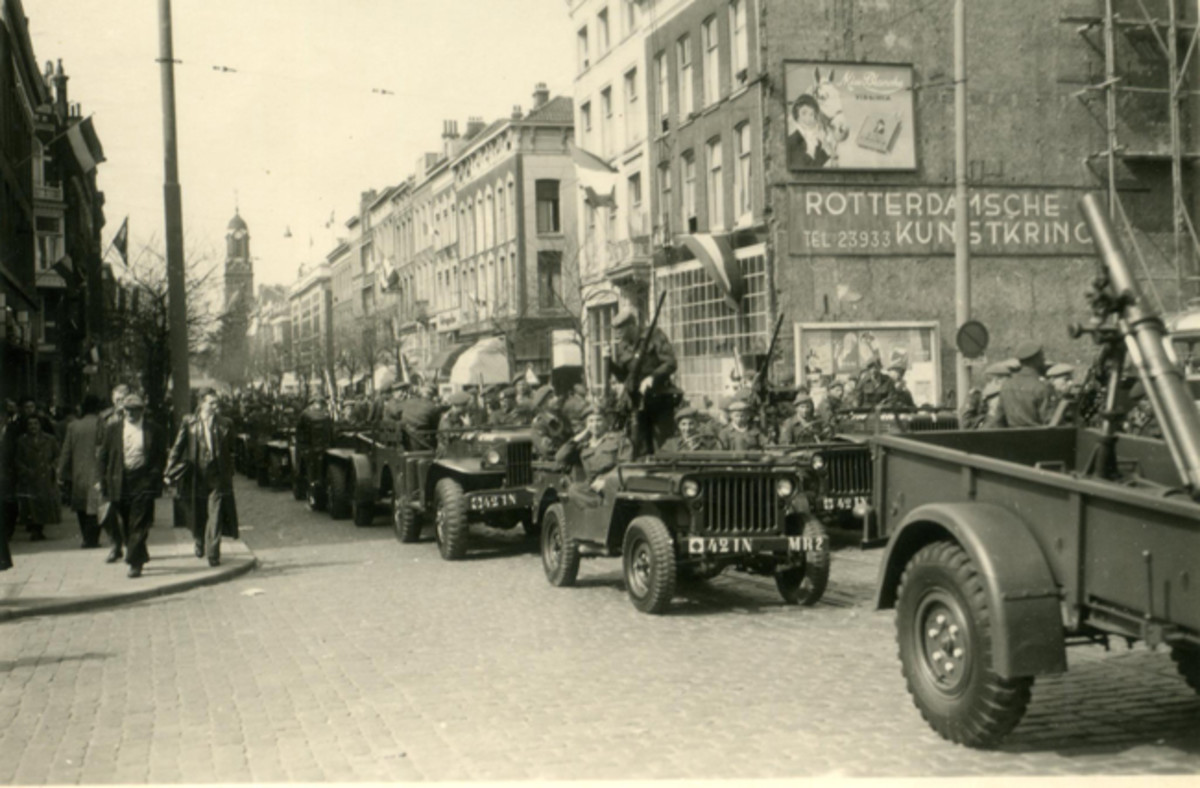 42nd Infantry Heavy Mortars Royal Dutch Army 1954 in Rotterdam during Queensday Parade.