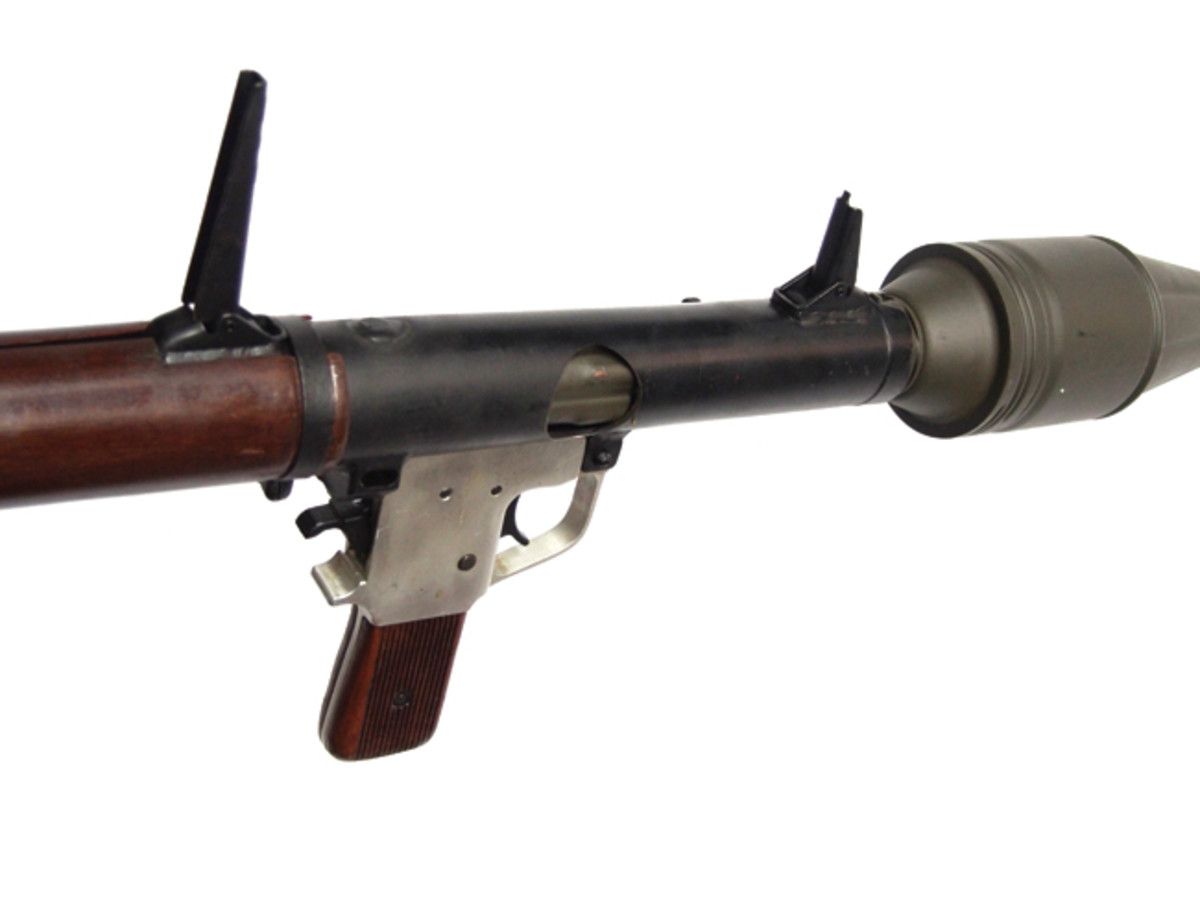 An RPG2 that has been properly cut near the firing handle – this actually allows one to see the fins on the RPG round. In addition to being cut a bar has been welded just past the handle, which ensures that the round can't be loaded fully into the RPG tube.