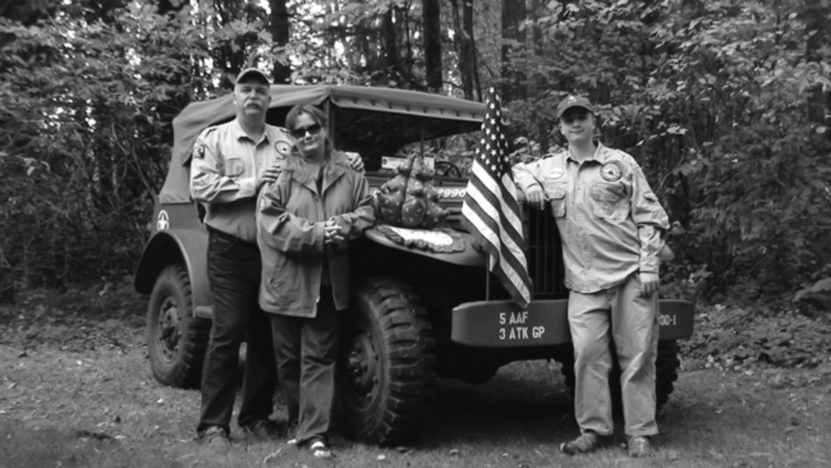 1943 Dodge WC56 posing for 2009 Christmas Card following the MVPA Lincoln Highway Convoy during which she traveled 5300 miles. Mark, Sundi, and Gunnar Sigrist – Gunnar is currently on active duty with the USMC.