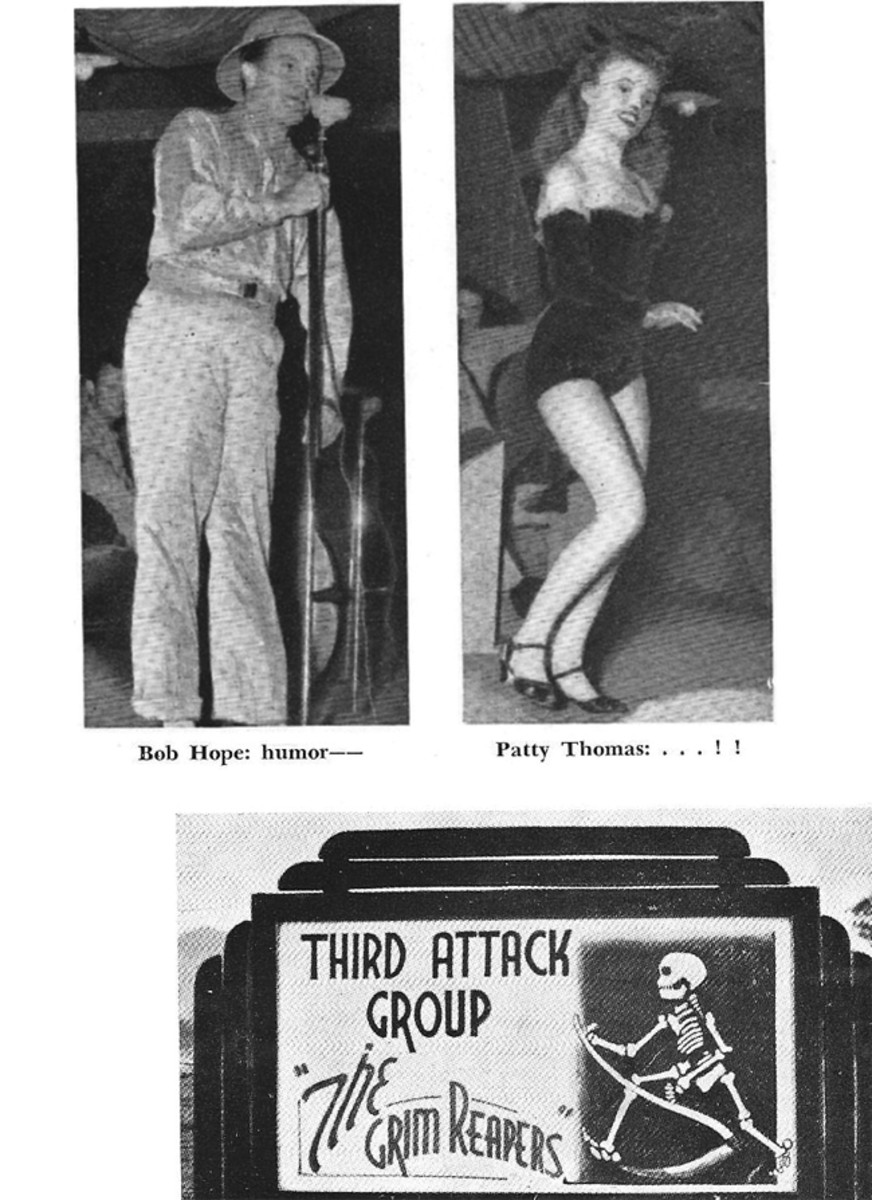 Bob Hope and Patty Thomas of the USO tour performing for members of 3rd Attack Group at Port Moresby, New Guinea.