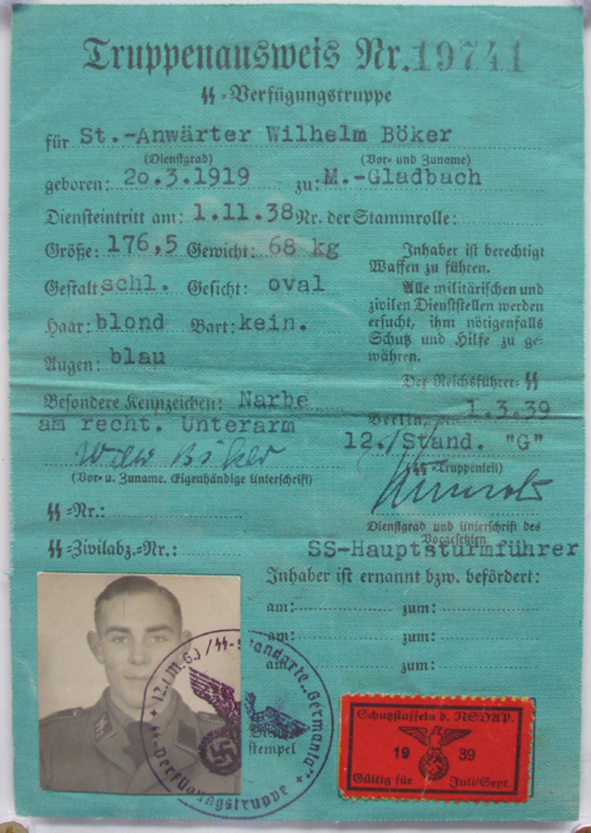 This Truppenausweis identified Wilhelm Boker as a member of the Waffen SS. Mark Pulaski Collection