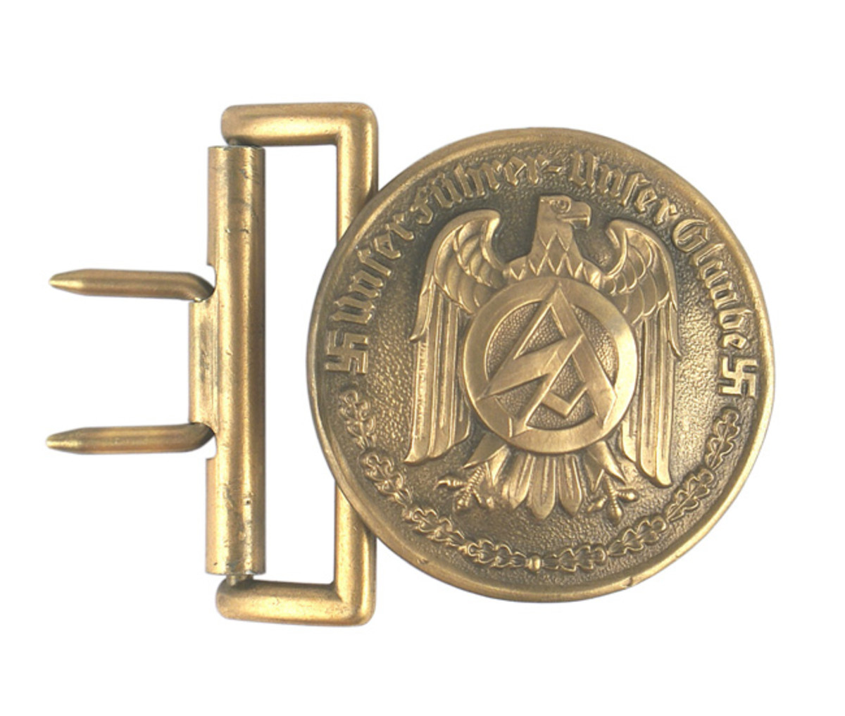 "German Nazi High Leader's bronzed round form dress belt buckle, with an ""SA"" emblem on an eagle and a pair of swastikas ($4,320)."
