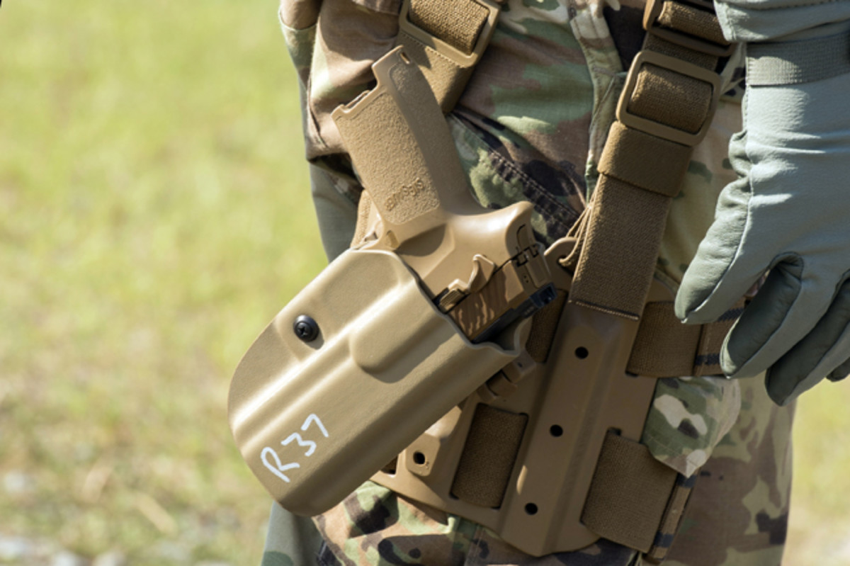 The Army recently began a conditional material release for the Modular Handgun System. It has issued about 2,000 of the pistols to the 101st Airborne Division at Fort Campbell, Kentucky. (U.S. Army photo by Lewis Perkins)