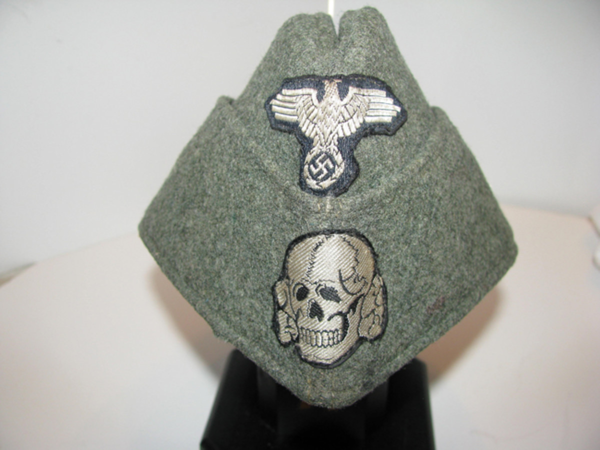 The Waffen SS gray service cap for enlisted men was easy to fold and store when not worn. It provided little protection, however, from the elements. Mark Pulaski Collection