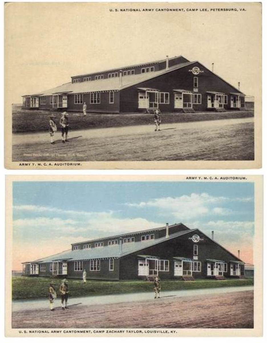 Perhaps an unusual collection could start with these images. Note that although the picture is exactly the same, the cards indicate two different locations: Camp Lee and Camp Zachary Taylor. There are at least two other camps known to have this same photo as their own. It would be interesting to attempt to find how many other variations there are using this same YMCA hut image