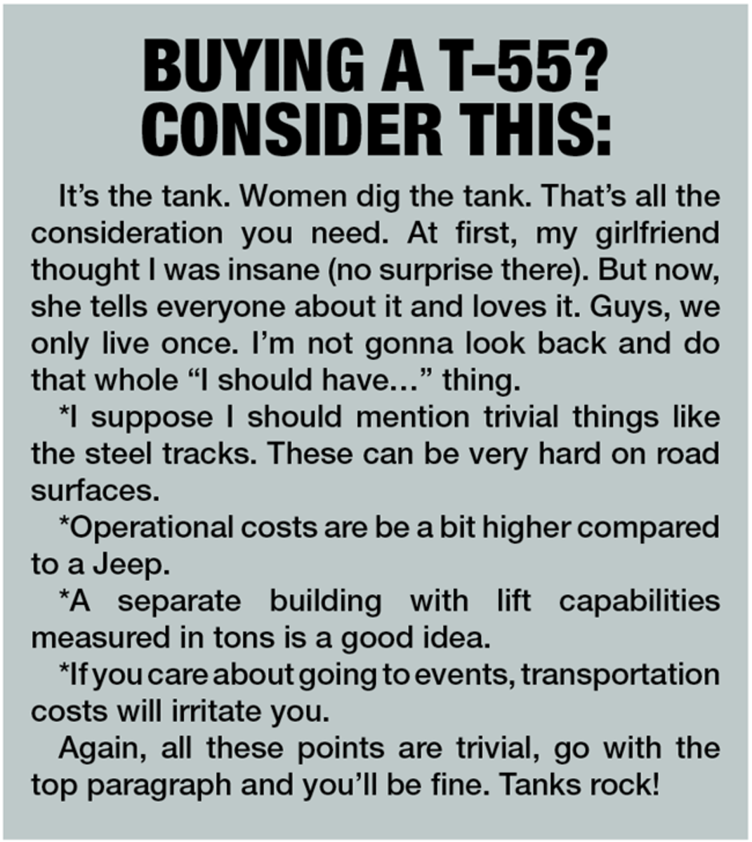 Chart with words of wisdom from one who has bought his own tank.