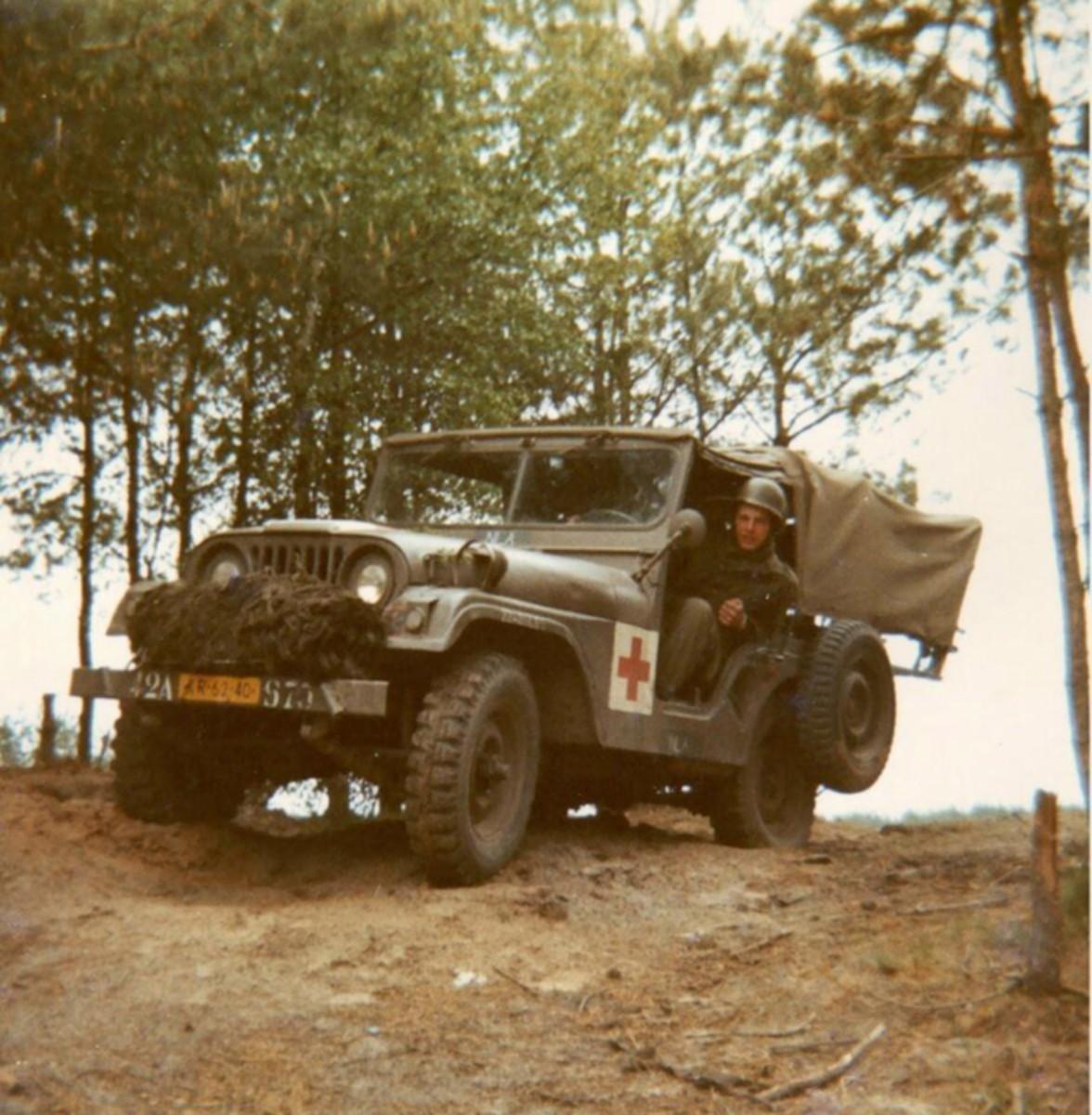M38A1 NEKAF (Nederlandse Kaiser-Frazer Fabrieken Rotterdam) Ambulance of the Royal Dutch Army, 1974.