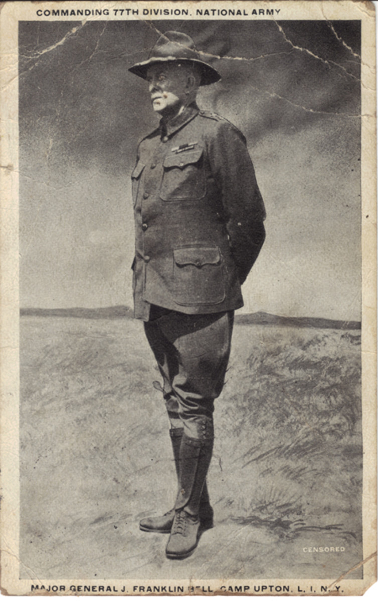 Another possible collection: generals at some of the camps were quite well known for their exploits in previous wars and so many of them appear on postcards the same as baseball players appear today on trading cards. This example, from Camp Upton, shows Major General J. Franklin Bell, first commander of the famous 77th Division.