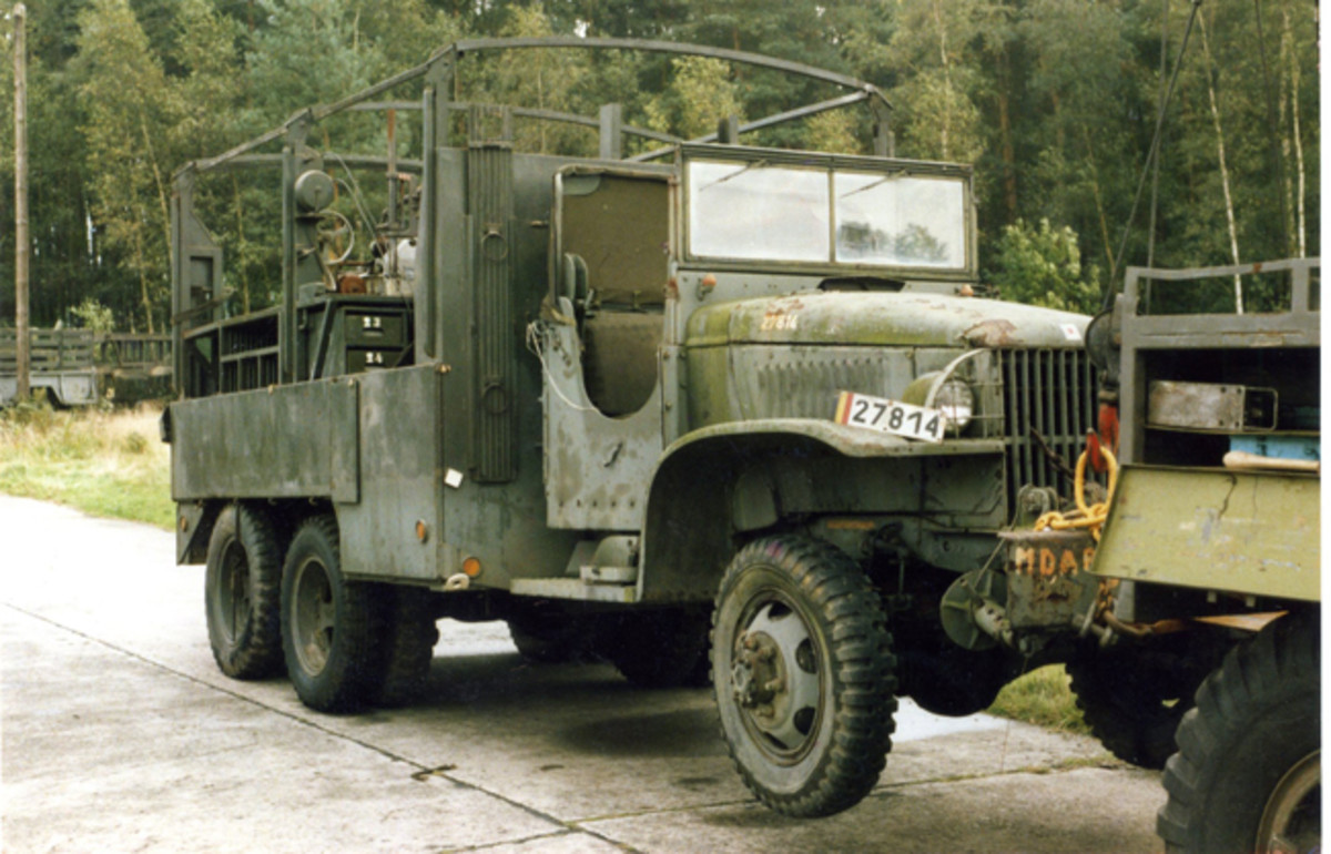 MDAP (Mutual Defense Assistance Program) GMC CCKW 353 shop truck after auction of American property in Belgium service, 1986.