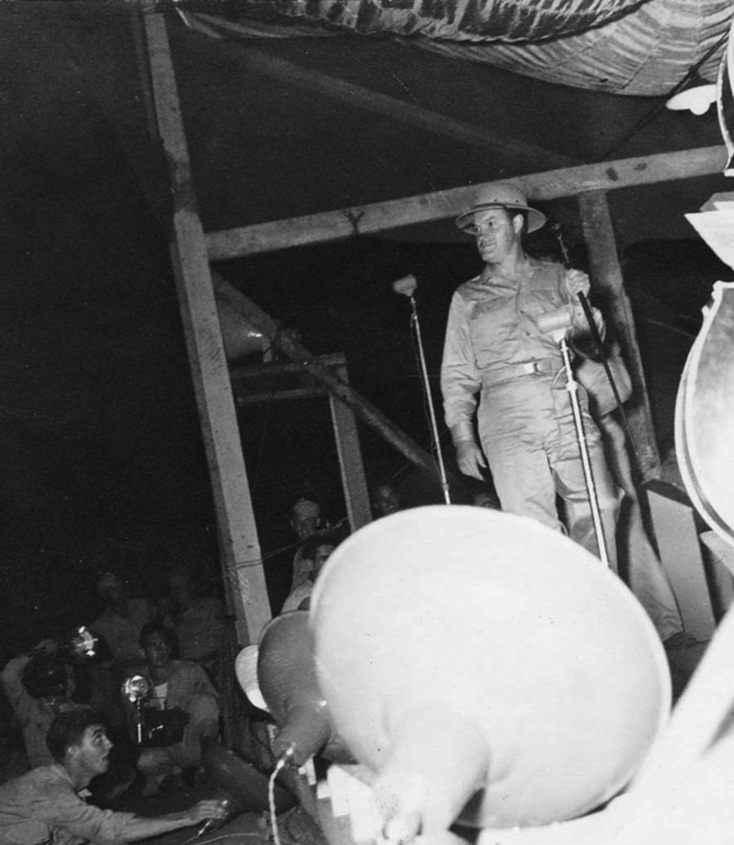 Bob Hope performed for members of 3rd Attack Group at Port Moresby, New Guinea. Dad couldn't remember if it was 1943 or 1944.