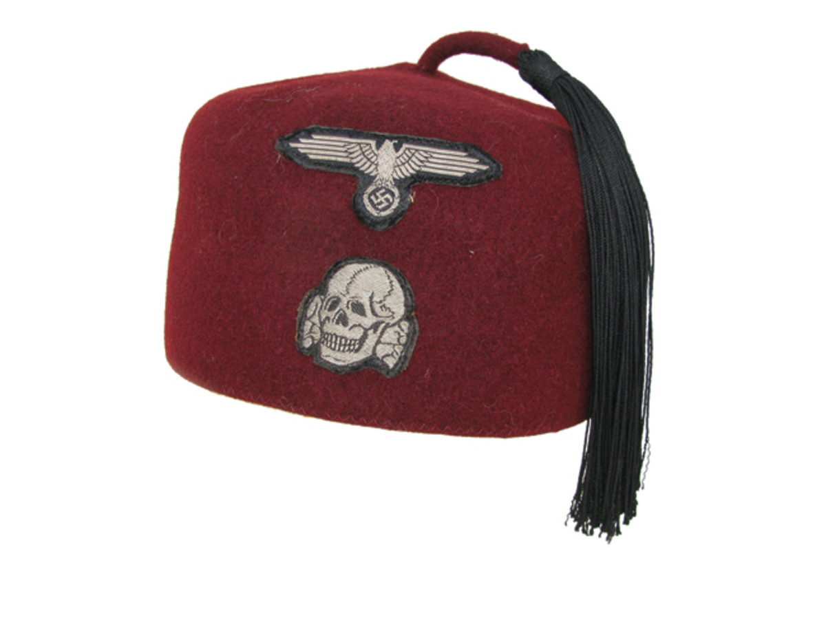 The traditional Croatian fezzes were popular with the SS Muslim troops of the Handschar Division. Officers and enlisted men in dress formation wore maroon-colored fezzes. Private Collection