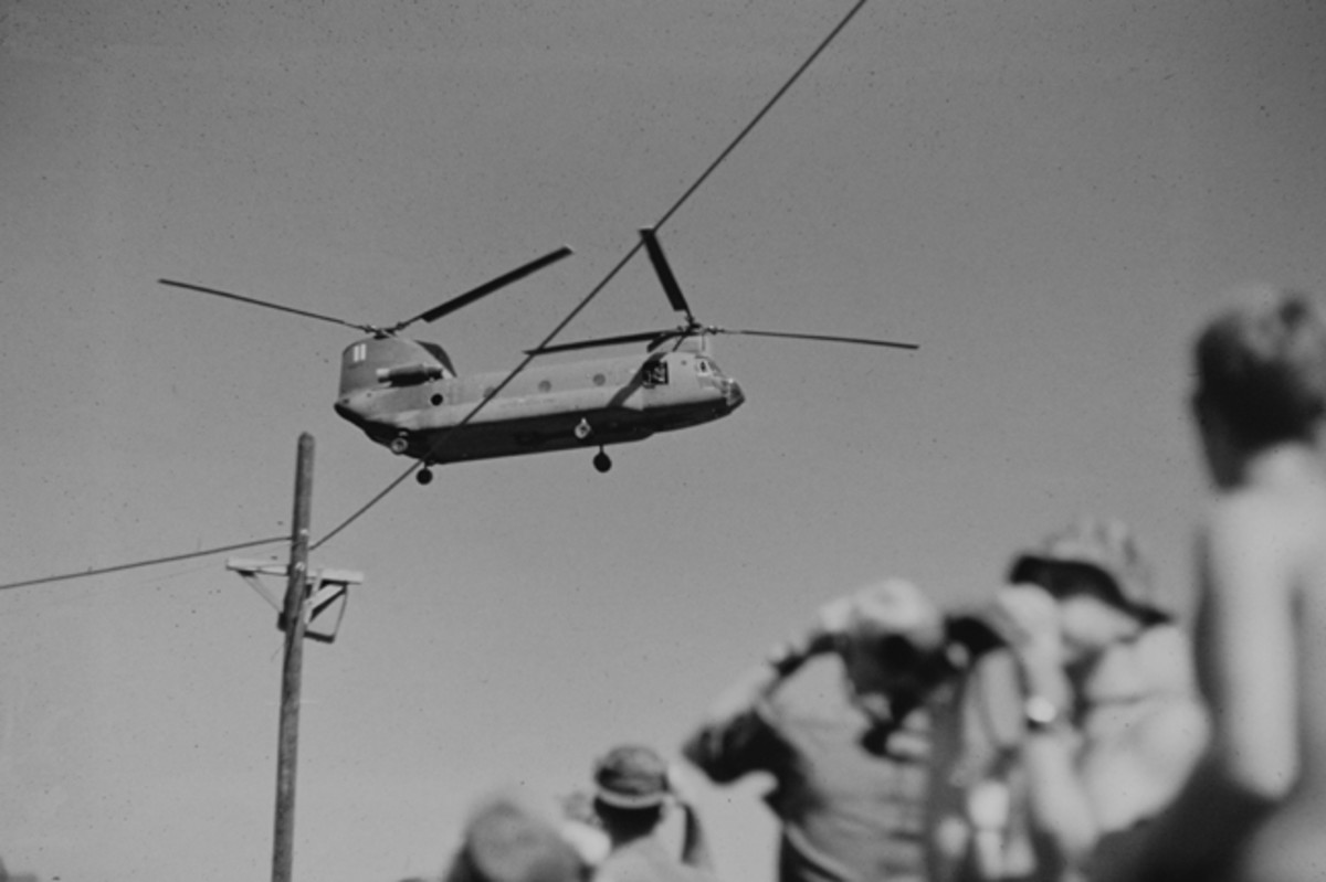 CH-47 Helicopter arriving at Long Binh, Vietnam, 1969 carrying Bob Hope USO troupe.