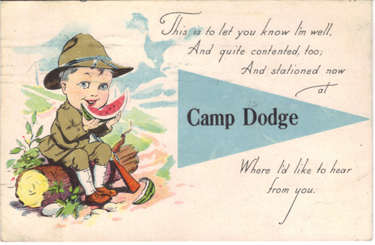 Post cards were produced for sale at most camps that include the camp name. Collecting all the many variations of a single camp's cards or one from every camp would be an interesting yet economical collection.