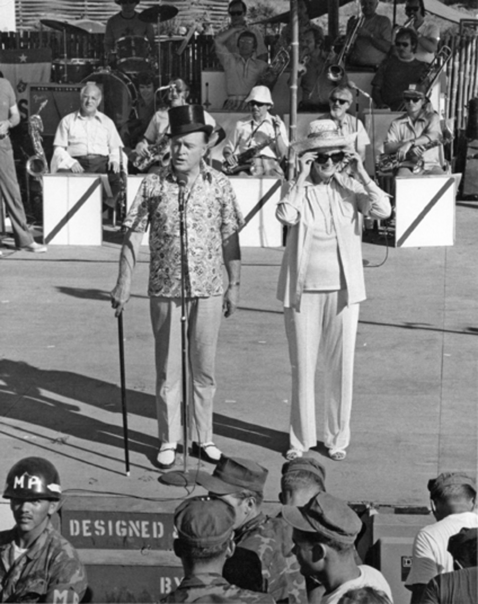 Bob and Dolores Hope appear before U.S. Service Men. (Courtesy of The Bob Hope Legacy)