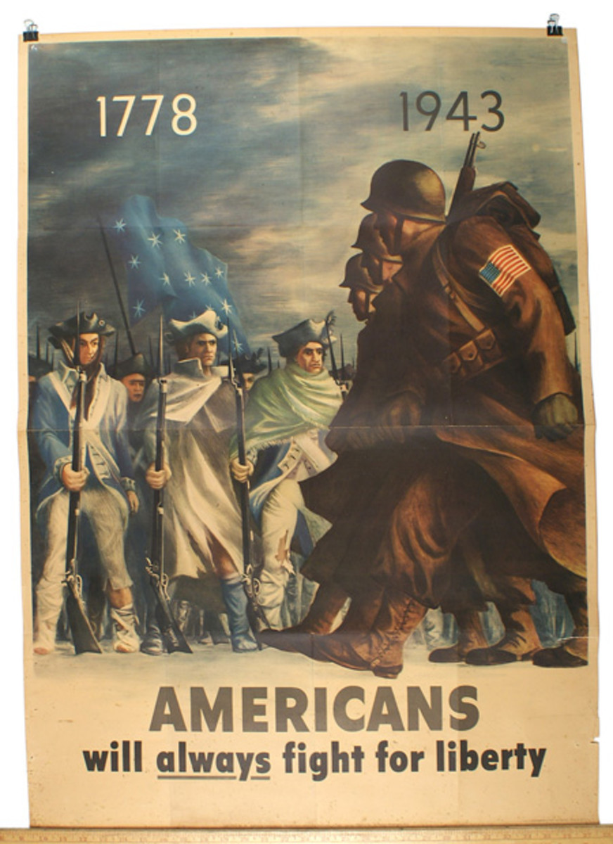 "World War II poster stating ""Americans Always Fight for Liberty,"" presented in dramatic fashion, with US combat soldiers marching ($366)."