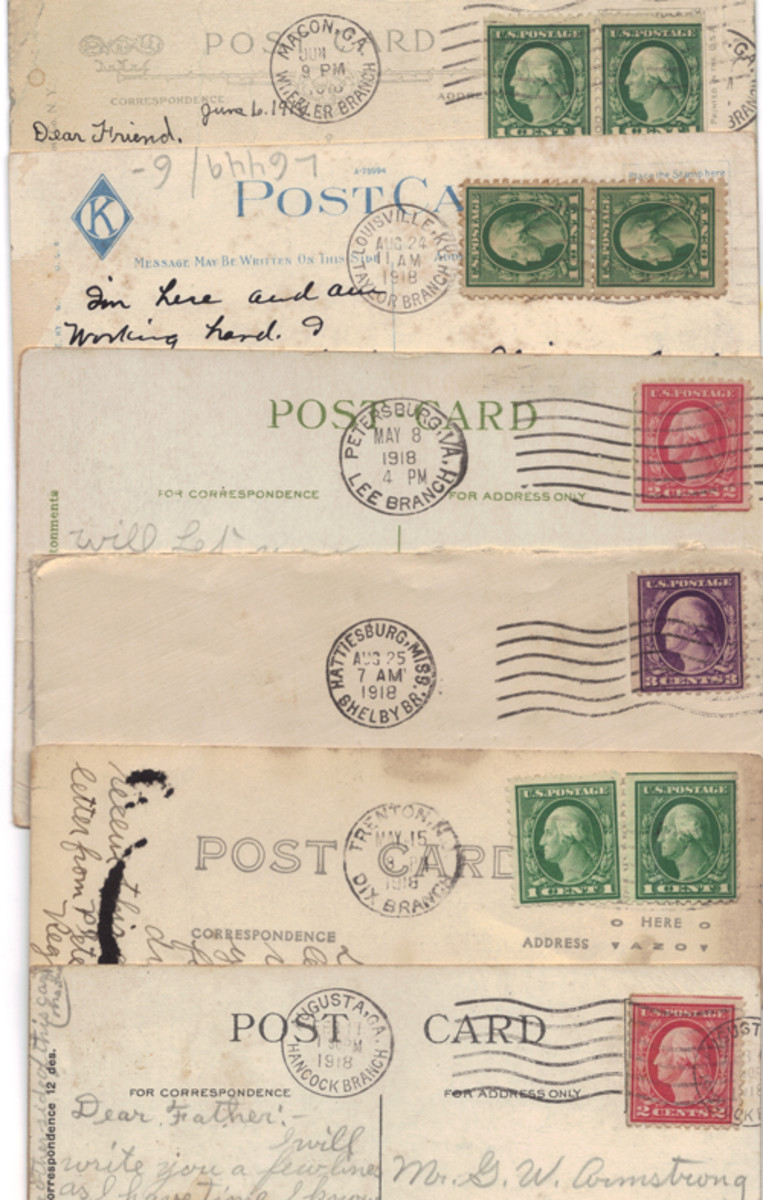 A mix of National Army and National Guard training camp correspondence showing cards or letters from Camp Wheeler (Georgia), Camp Zachary Taylor (Kentucky), Camp Lee (Virginia), Camp Shelby (Mississippi), Camp Dix (New Jersey), and Camp Hancock (Georgia). As an added bonus, each also comes dated. Many also include soldier's names and unit designations. The Camp Lee example is traceable to a Pennsylvania Doughboy serving in the 155th Depot Brigade while the Camp Shelby letter is traceable to a Doughboy in the 113th Sanitary Train of the 38th Division.