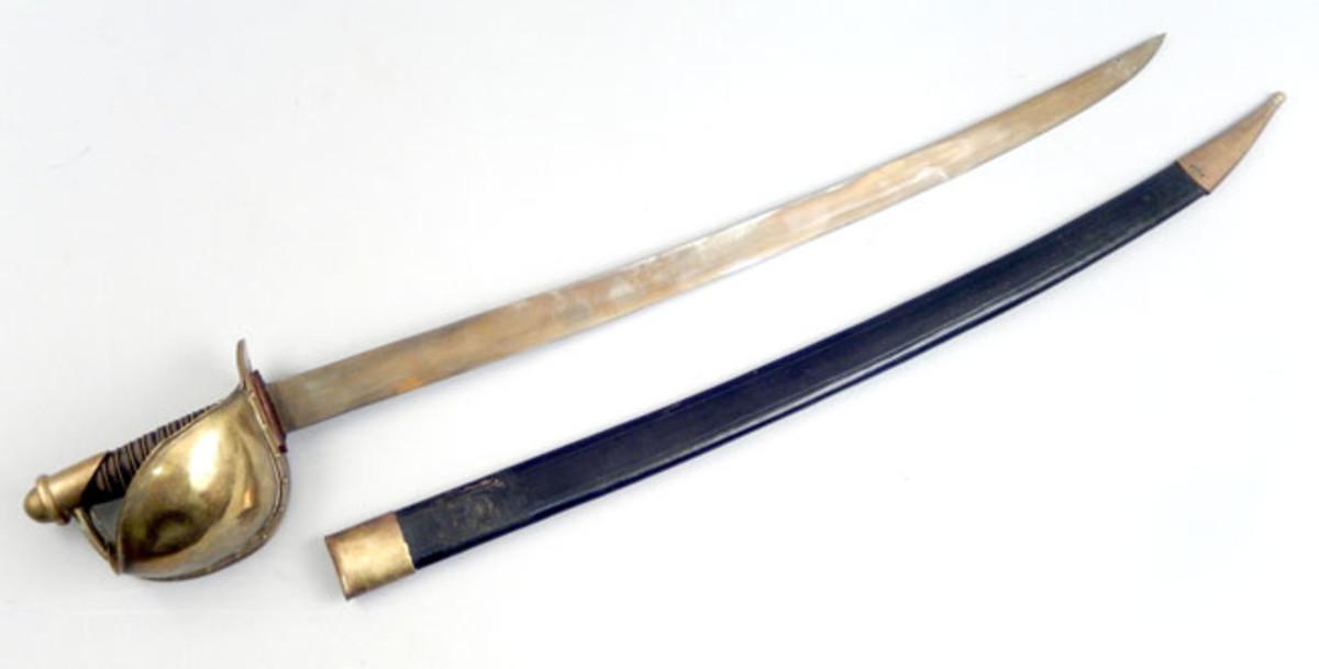 US 1862 Civil-War-era naval cutlass sword in scabbard
