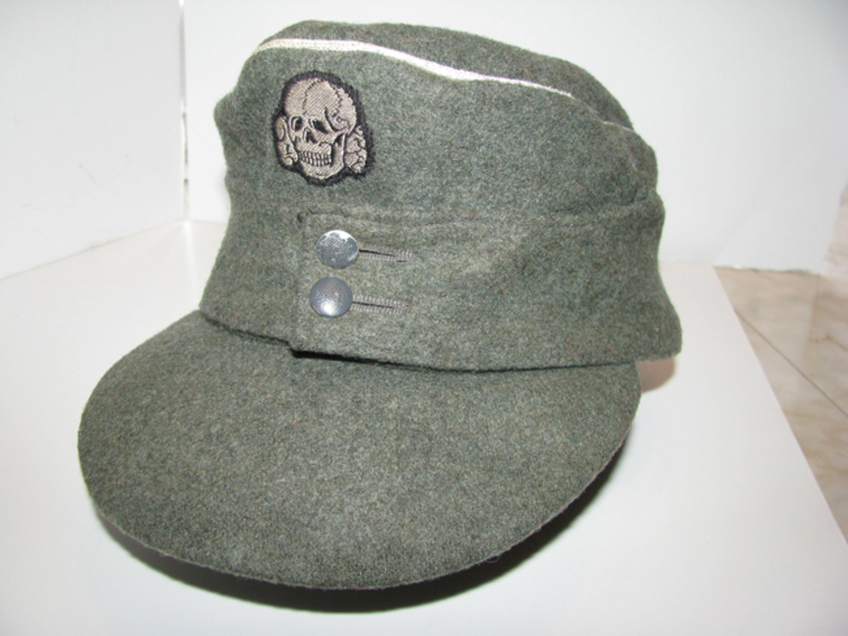 Like the visor cap, Waffen SS officers provided their own privately purchased caps. Generally, these were made of better material than the lower ranks' issued caps. Mark PulaskiCollection
