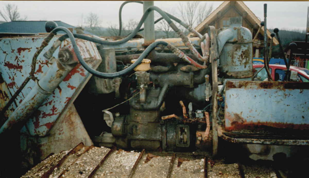 Left side of the Russian copy of a CAT dozer outside Budapest, Hungary. Jeff Rowsam