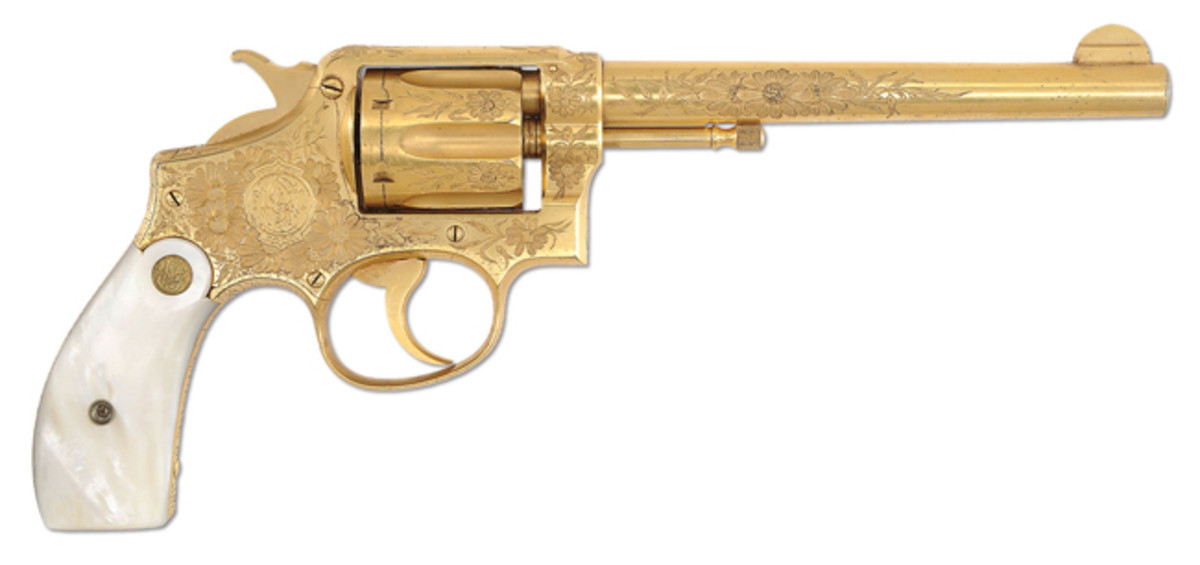 Extremely Rare Factory Engraved Gold-Plated Smith & Wesson 38 Hand Ejector 1st Model DA Revolver for Pan American Expo, Buffalo, NY 1901 (est. $4,000-7,000), Sold for $23,000