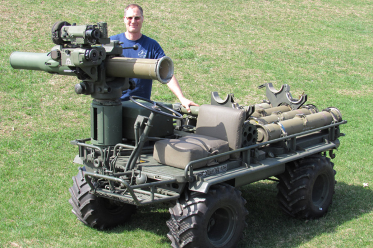 Nick DeNardo with his rare TOW mule. A second mule in his stable is equipped with a 106mm recoilless rifle.