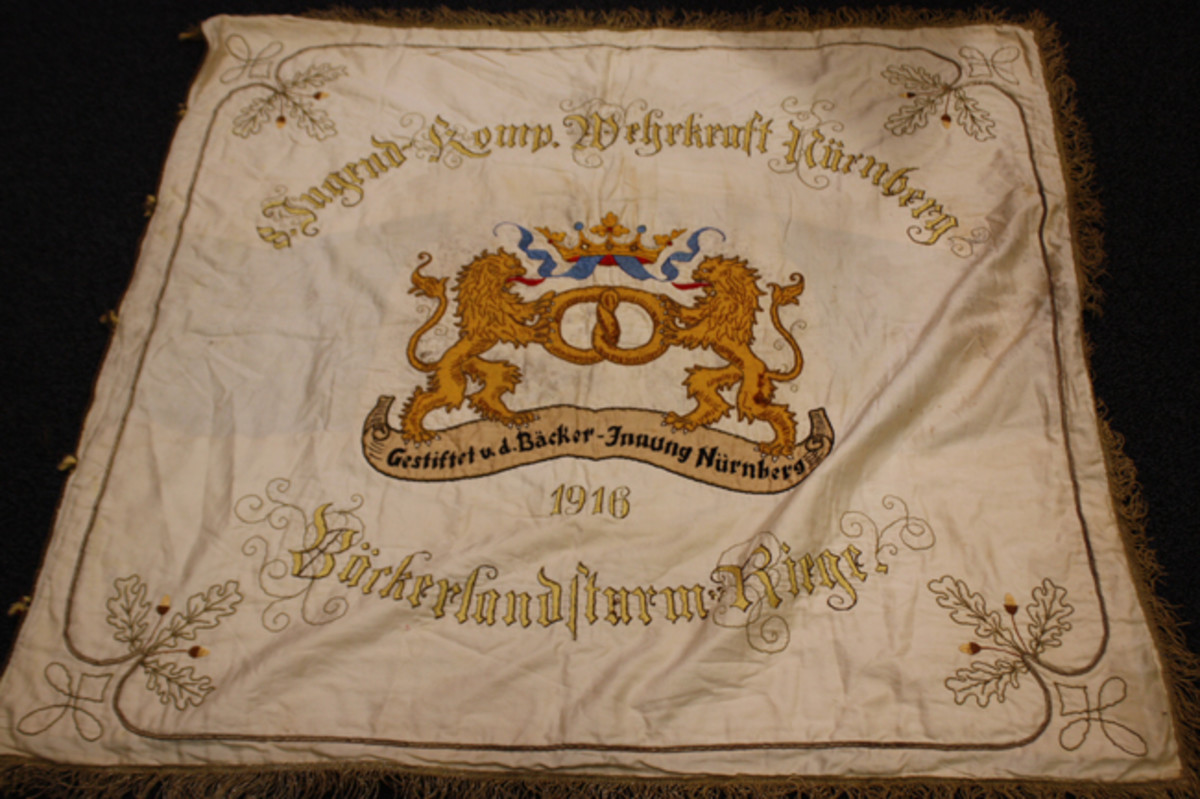 Imperial Bavarian banner for the Bakers' Union of Nurnberg, Bavaria for their sponsorship of a boys' para-military organization training for war.