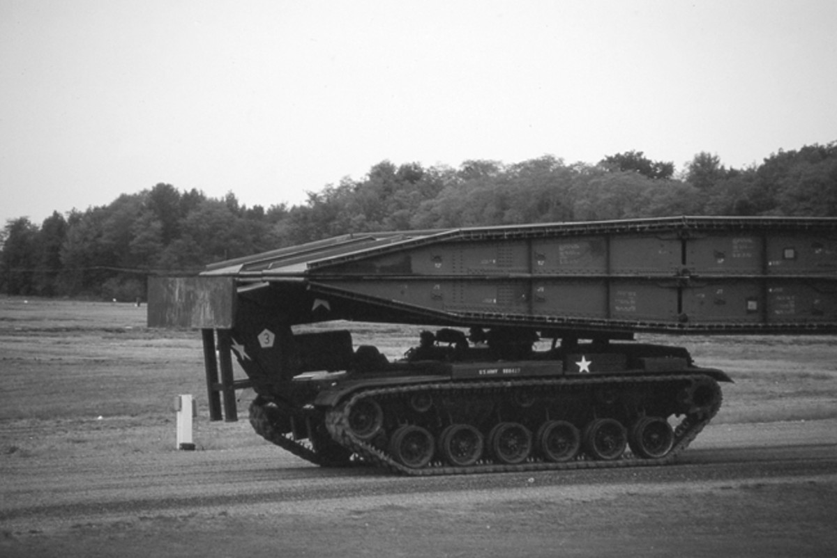 The US Army finally deployed the M60 AVLB in 1967. it is an armored vehicle based on the M60 Patton main battle tank chassis and was used for the launching and retrieval of a 60-foot scissors-type bridge. The AVLB consisted of three major sections: The launcher, the vehicle hull, and the bridge. John Adams-Graf Collection
