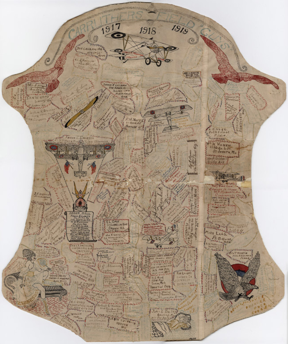 Pen and ink decorated memory plaque of pen and ink decorated airplane fabric from those who served in the U.S. Air service at Carruthers Field, Texas, 1917-1919.