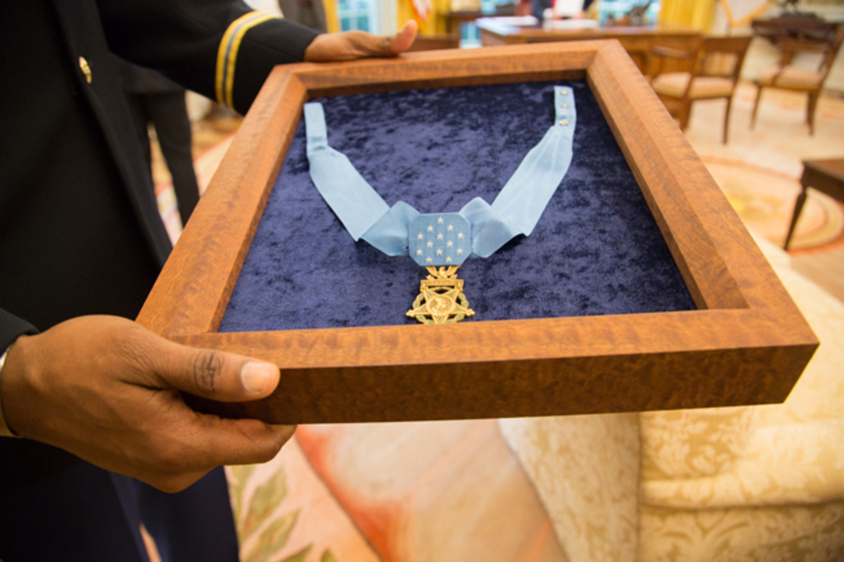 The Medal of Honor that President Donald J. Trump award to US Army Spc 5 James C. McCloughan on July 31, 2017