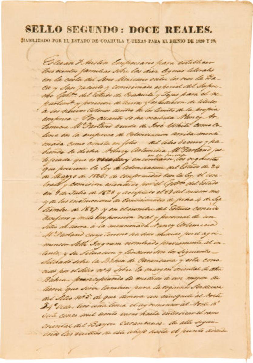 "Stephen F. Austin Land Transfer Document Signed ""Estevan F. Austin."""